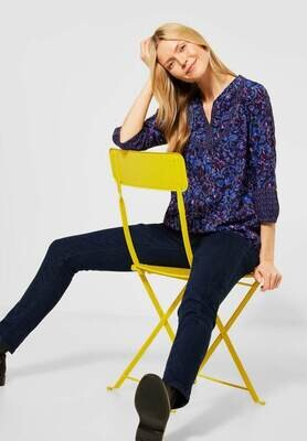 Print Mix Blouse In Deep Blue