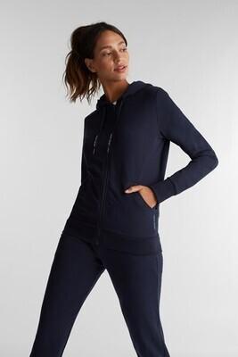 Navy Zip-up cardigan made of organic cotton