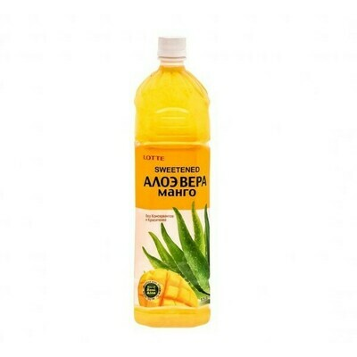 Напиток «Алоэ Вера» негазированный с мякотью алоэ со вкусом Манго (Lotte Aloe Vera), ПЭТ, 12 шт. по 1,5 л