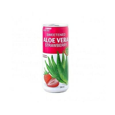 Напиток «Алоэ Вера» негазированный с мякотью алоэ со вкусом Клубники (Lotte Aloe Vera), ЖБ, по 30 шт. по 0,25 л