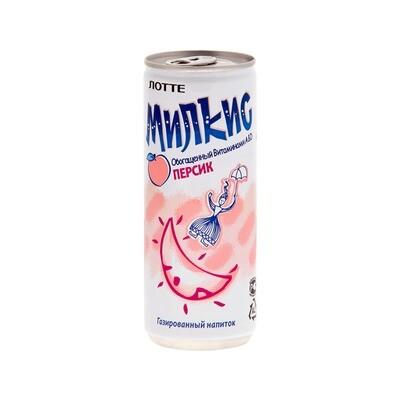 Напиток «Милкис» газированный Персик (Lotte Milkis), ЖБ, по 30 шт. по 0,25 л