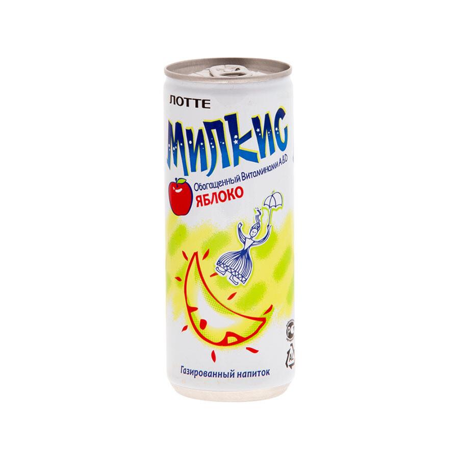 Напиток «Милкис» газированный Яблоко (Lotte Milkis), ЖБ, по 30 шт. по 0,25 л