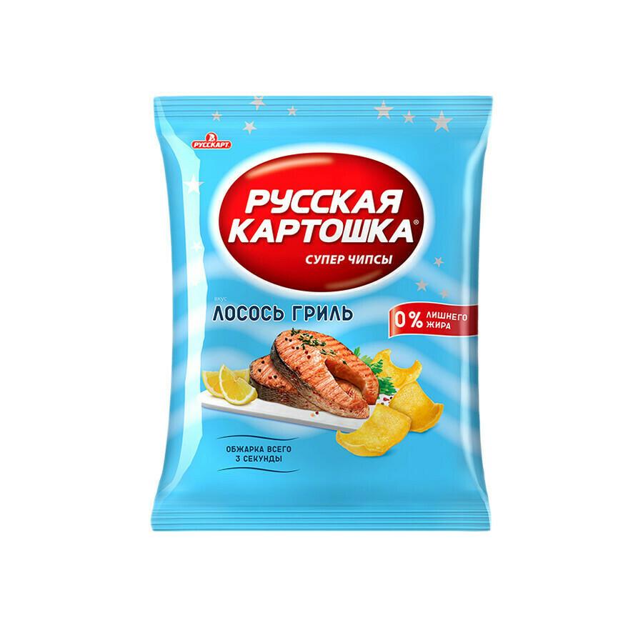 Русская картошка «Чипсы картофельные лосось гриль» 10шт 110г