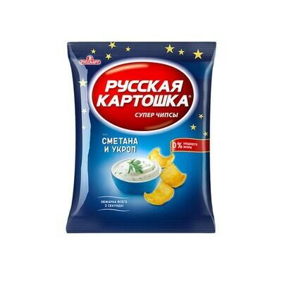Русская картошка «Чипсы картофельные со вкусом сметаны и укропа» 16шт 80г