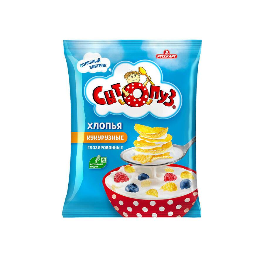 Сытопуз «Сухие завтраки. Хлопья кукурузные глазированные сахарной глазурью» 8шт 300г