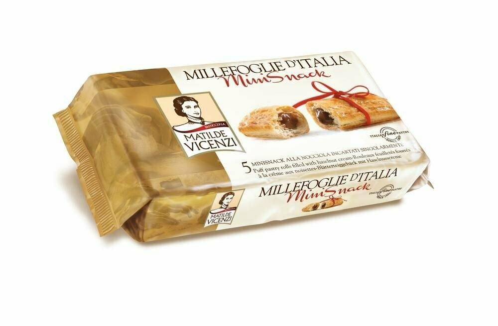 Vicenzi Millefoglie Minisnack Hazelnut– olasz leveles tésztából készült sütemények (5db) mogyorókrémmel (40%) töltve 125g