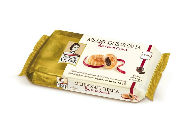 Vicenzi Bocconcini Choco. – olasz leveles tésztából készült sütemények (16db) csokoládés krémmel (35%) töltve 125g