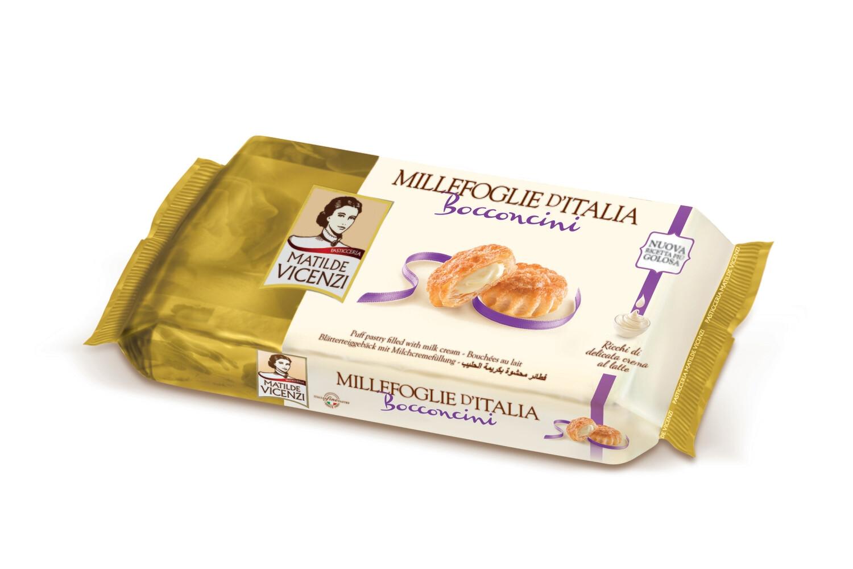 Vicenzi Bocconcini Milk – olasz leveles tésztából készült sütemények (16db) tejkrémmel (35%) töltve 125g