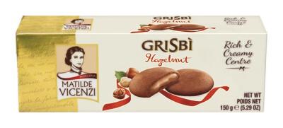 Vicenzi Grisbi Hazelnut - mogyorós krémmel (40%) töltött sütemények (9 db) 150g