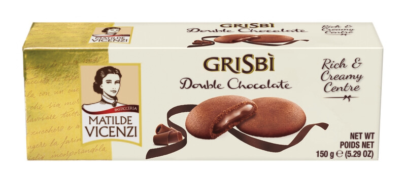 Vicenzi Grisbi Double Chocolate csokoládé krémmel (40%) töltött sütemények (9db) 150g
