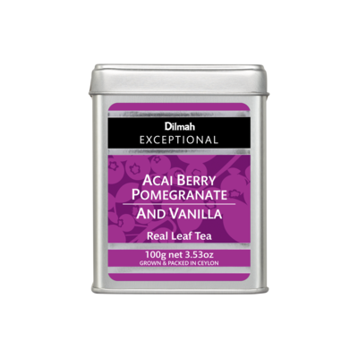 Dilmah Exceptional szálas fekete tea acai bogyó, gránátalma és vanília ízesítéssel fémdobozban 100g