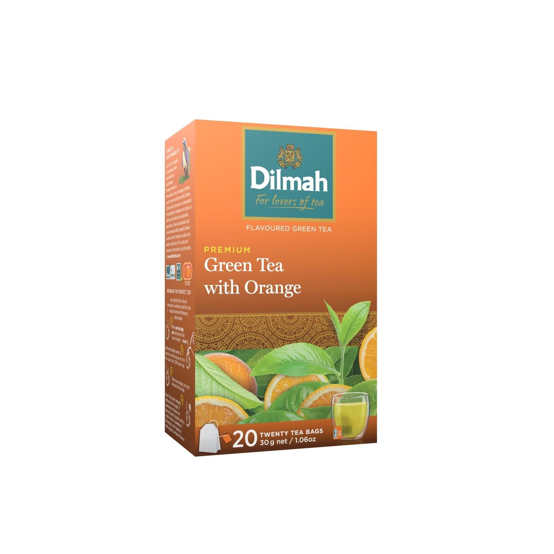 ÚJ Dilmah filteres zöld tea narancs és grépfrút ízesítéssel aromazáró dobozban 20x1,5g