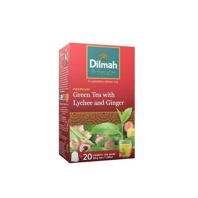 ÚJ Dilmah filteres zöld tea gyömbér és licsi ízesítéssel aromazáró dobozban 20x1,5g