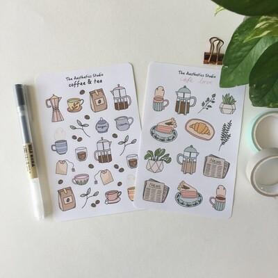 coffee & tea and cafe love Sticker Sheet
