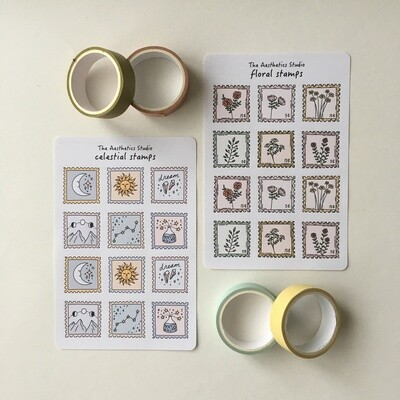 celestial stamps and floral stamps Sticker Sheet