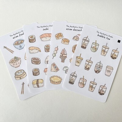 asian foods sticker collection
