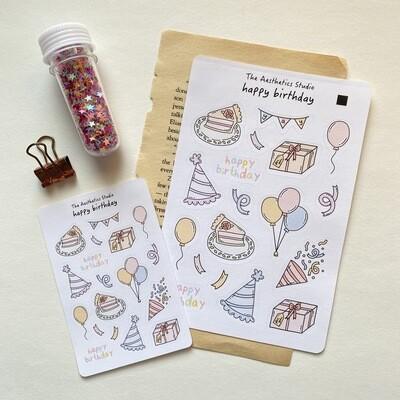 happy birthday Sticker Sheet