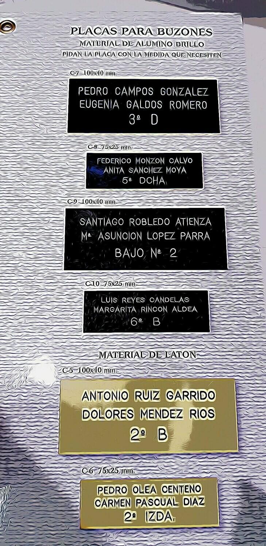 PLACA DE BUZÓN, DE COCHE, MASCOTA Y OTROS