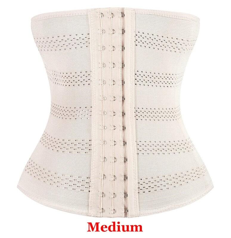 Waist Trainer Beige Women's Breathable Elastic Corset Cincher Belt Shapewear - MEDIUM