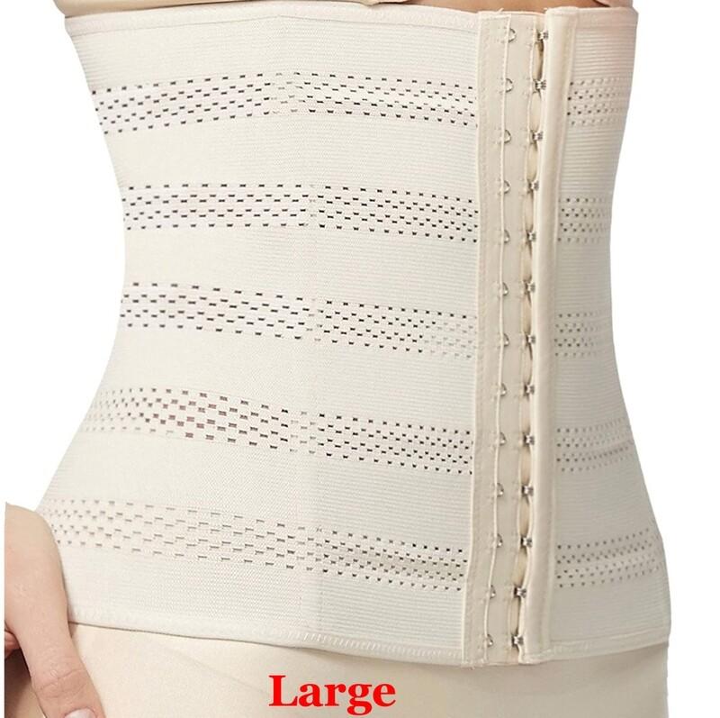 Waist Trainer Beige Women's Breathable Elastic Corset Cincher Belt Shapewear - LARGE