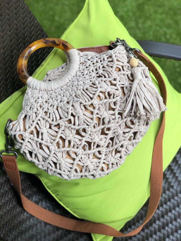 The Sak Helena Crochet Circle Handle Crossbody Ecru
