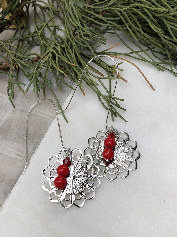 Flower Child: Vintage Red Coral & Swarovski Earrings