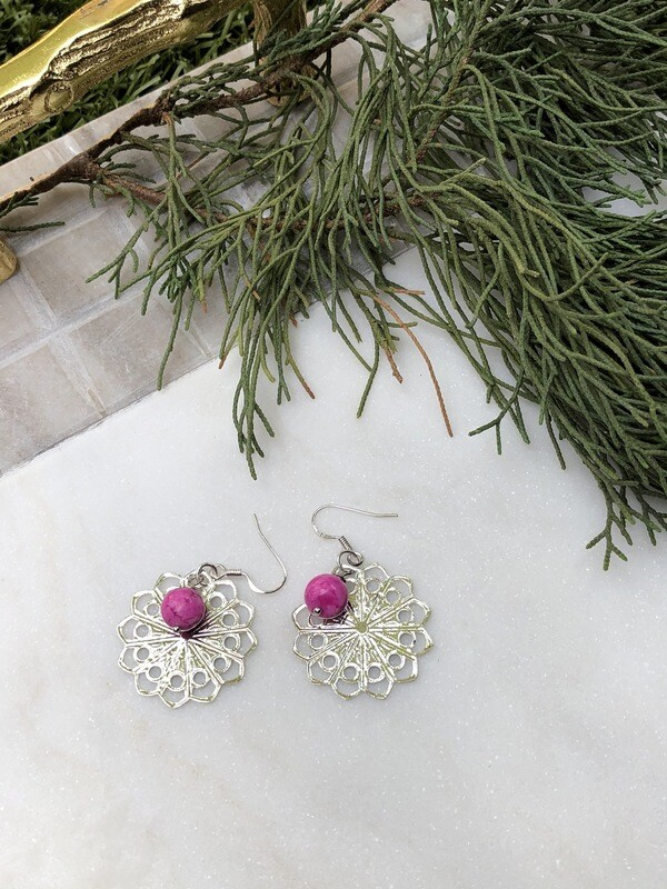 Flower Child: Pink Howlite Filigree Earrings