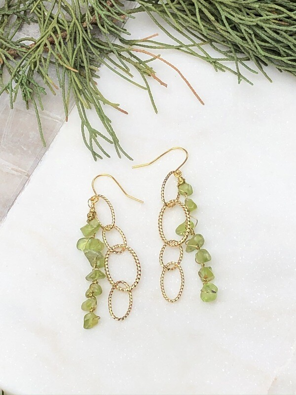 Vintage Ovoid: Peridot Earrings