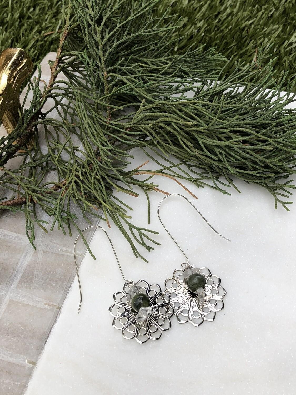 Flower Child: Vintage Jade & Quartz Earrings