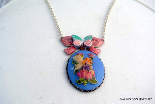 Blue Fairy Cameo Necklace