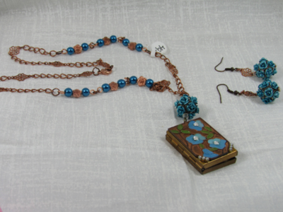 Vintage Blue Locket and earrings set