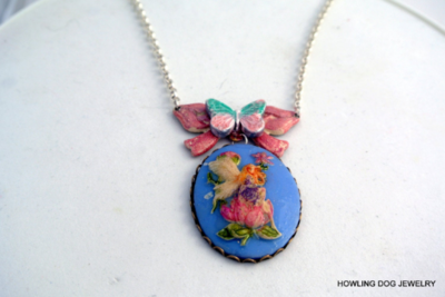 Blue Fairy Cameo Necklace