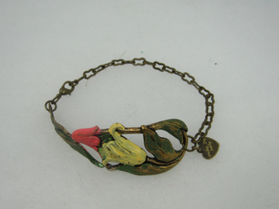Coral and Yellow Tulips. Hand painted. Brass Bracelet