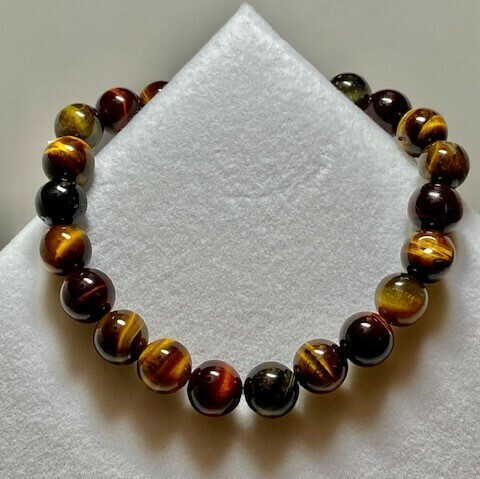 Tiger Eye Tri-Colored Gemstone Bracelet  8mm