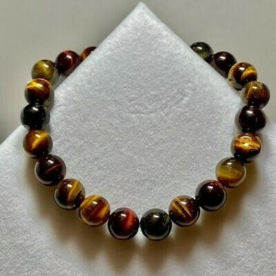 Tiger Eye Tri-Colored Gemstone Bracelet  8mm