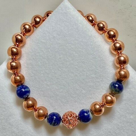 Copper & Lapis Gemstone Bead Bracelet  8mm