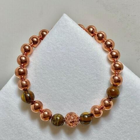 Copper & TigerEye Gemstone Bead Bracelet  8mm