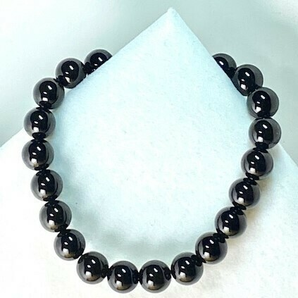Black Onyx Gemstone Bead Bracelet 8mm