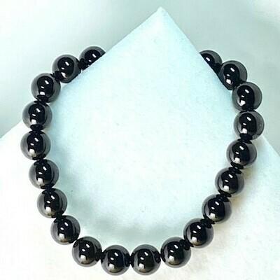 Black Onyx Gemstone Bead Bracelet 8mm