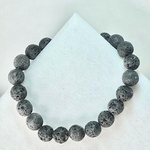 Lava Rock Gemstone Bead Bracelet 8mm