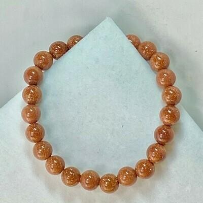 Goldstone Bead Bracelet   2 Sizes Available 6mm, 8mm