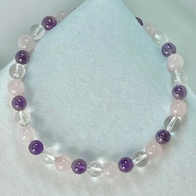 Amethyst, Rose & Clear Quarts Gemstone bead bracelet 6mm