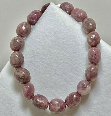 Lepidiolite Free Form Bead Bracelet