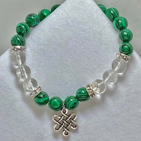 Malachite & Clear Quarts Bead with Celtic Charm  8mm