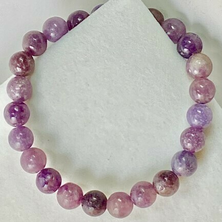 Lepidiolite Gemstone Bead Bracelet 8mm