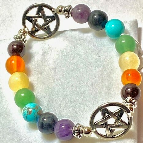 7 Chakra Gemstone & 2 Pentagram Charms  8mm Beads