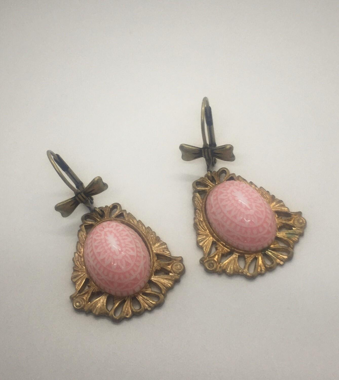 Pink Cabochon Dangle Earrings