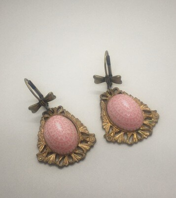 Pink Cabochon Dangle Earrings