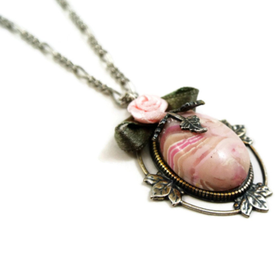 Pink Faux Agate pendant