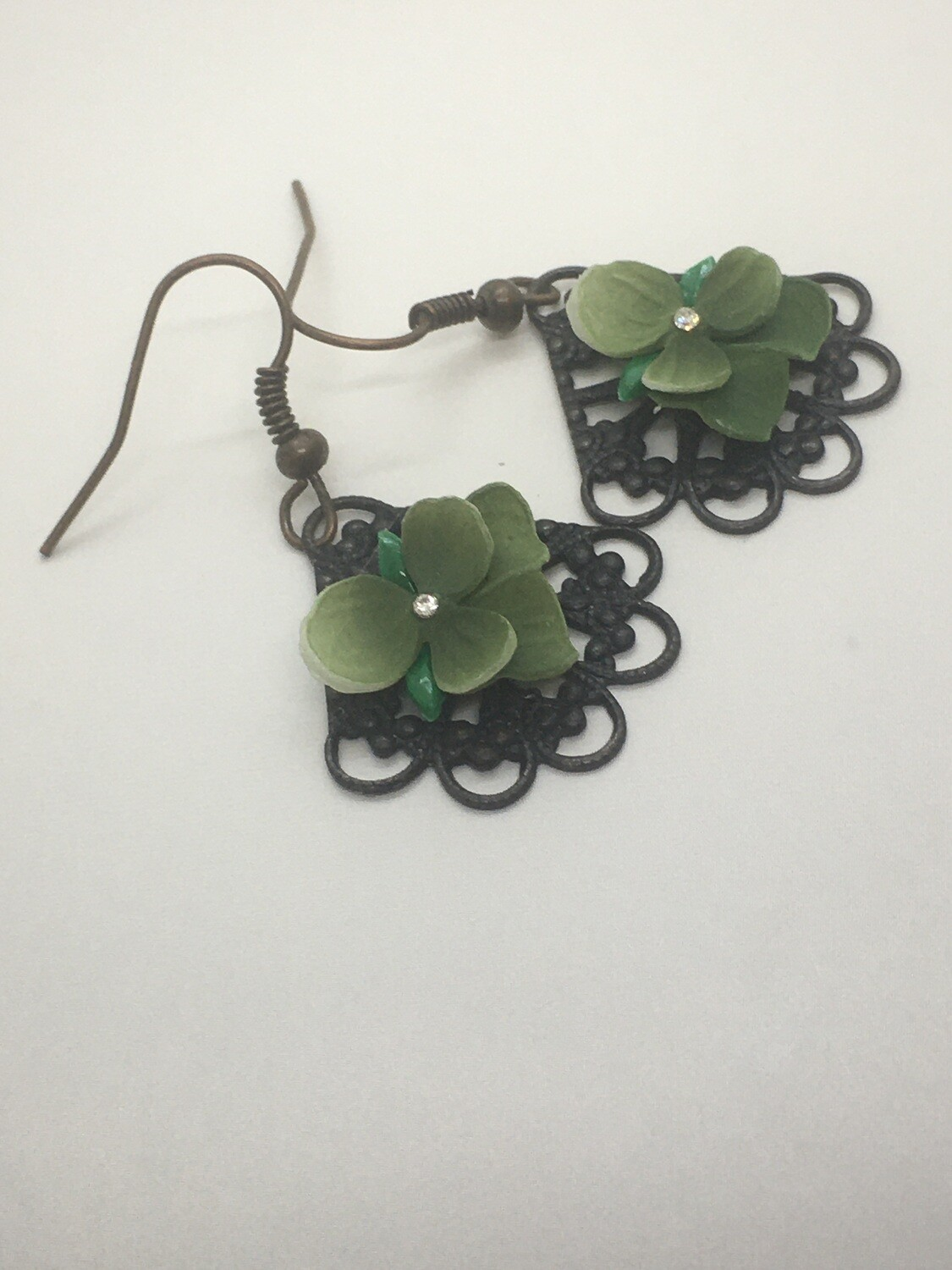 Green pansy earrings